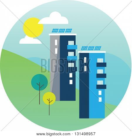 Illustration Of Solar Panels On Roof Of Building
