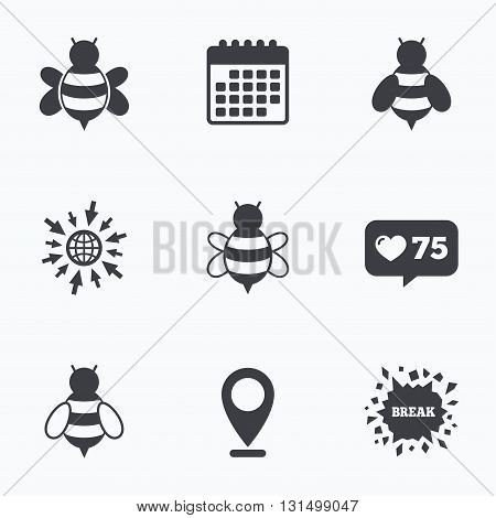 Calendar, like counter and go to web icons. Honey bees icons. Bumblebees symbols. Flying insects with sting signs. Location pointer.