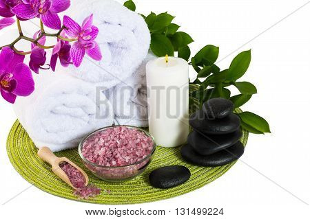 Spa product concept with pink sea salt. Spa. Spa treatment. Spa concept. Spa massage