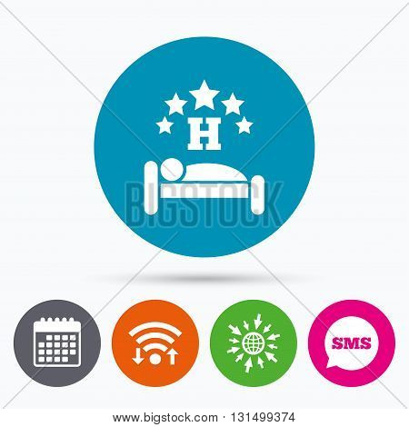 Wifi, Sms and calendar icons. Five star Hotel apartment sign icon. Travel rest place. Sleeper symbol. Go to web globe.