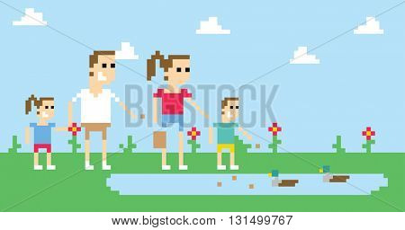 Pixel Art Image Of Family Feeding Ducks In Park