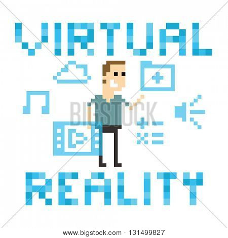 Pixel Art Image Of Man Amongst Virtual Reality Graphics