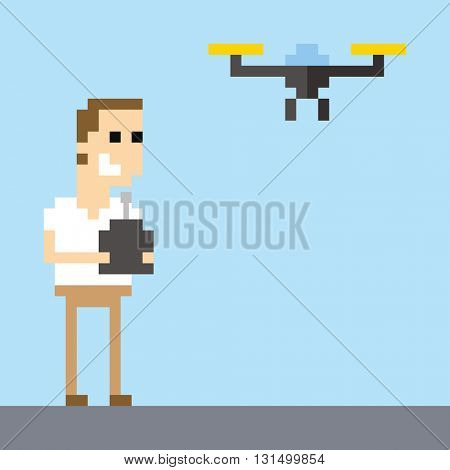 Pixel Art Image Of Man Flying Drone Using Remote Control