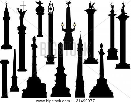 sculptures isolated on white background