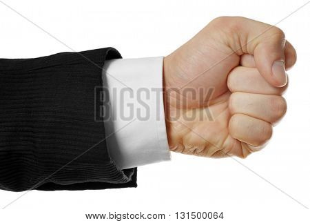 Male fist, isolated on white