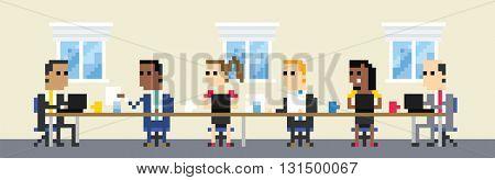 Pixel Art Image Of Business Team Meeting In Boardroom