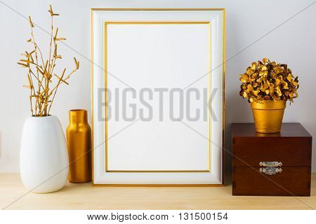 Frame mockup with wooden box. Frame mockup. Poster Mockup. Styled mockup. Product mockup. Design Mockup. Gold frame mockup. White frame mockup.
