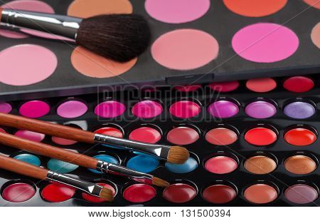 Closeup of professional make-up collection and brushes