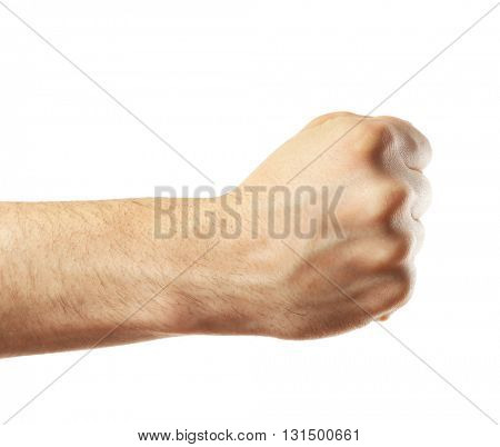 Male fist isolated on white