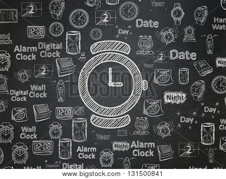 Time concept: Chalk White Watch icon on School board background with  Hand Drawing Time Icons, School Board