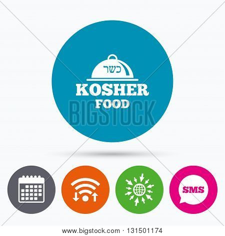 Wifi, Sms and calendar icons. Kosher food product sign icon. Natural Jewish food with platter serving symbol. Go to web globe.