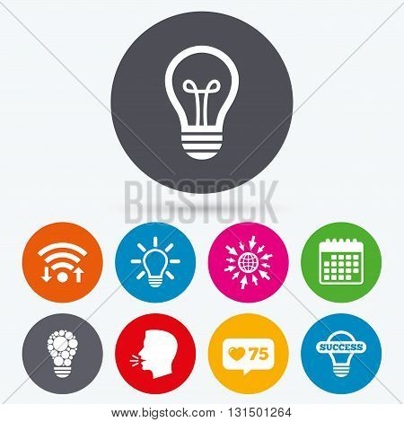 Wifi, like counter and calendar icons. Light lamp icons. Circles lamp bulb symbols. Energy saving. Idea and success sign. Human talk, go to web.