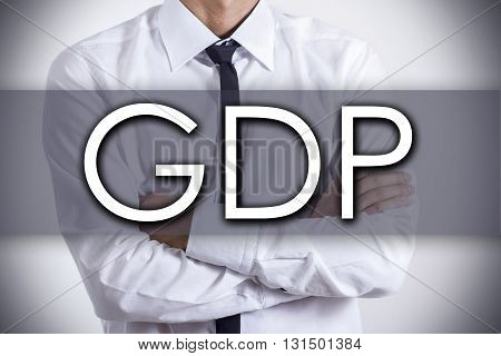 Gdp - Young Businessman With Text - Business Concept