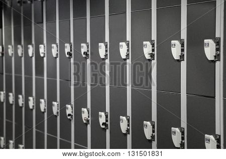 Row of locker for storage in changing room