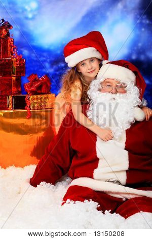 Christmas theme: Santa, gifts, snowy design, child.