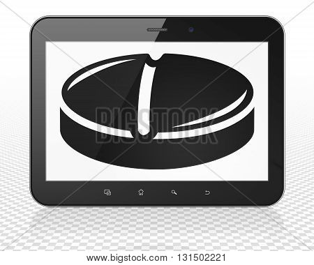 Healthcare concept: Tablet Pc Computer with black Pill icon on display, 3D rendering
