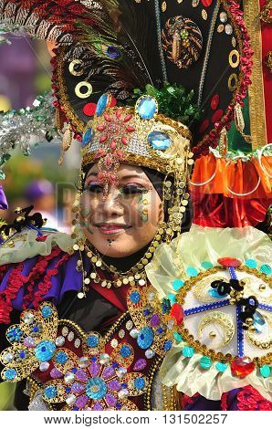 Tenggarong Kalimantan Timur - Indonesia October 26 2013 Annual unique carnival costumes