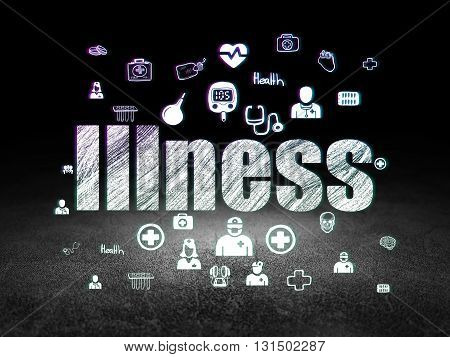 Health concept: Glowing text Illness,  Hand Drawn Medicine Icons in grunge dark room with Dirty Floor, black background