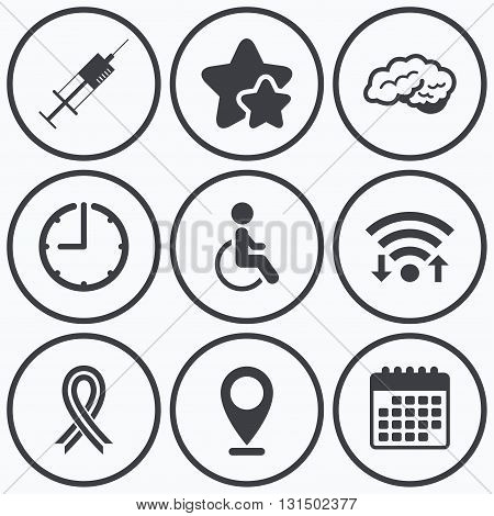 Clock, wifi and stars icons. Medicine icons. Syringe, disabled, brain and ribbon signs. Breast cancer awareness symbol. Handicapped invalid. Calendar symbol.