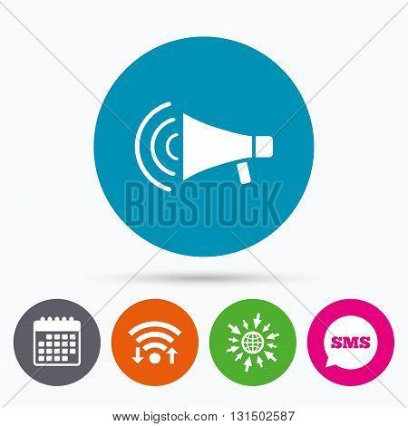Wifi, Sms and calendar icons. Megaphone sign icon. Loudspeaker strike symbol. Go to web globe.