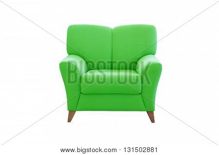 Green sofa seat isolated on white background. Modern sofa seat.