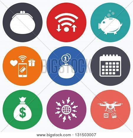 Wifi, mobile payments and drones icons. Wallet with cash coin and piggy bank moneybox symbols. Dollar USD currency sign. Calendar symbol.