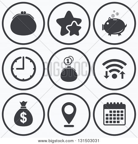 Clock, wifi and stars icons. Wallet with cash coin and piggy bank moneybox symbols. Dollar USD currency sign. Calendar symbol.