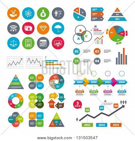 Wifi, calendar and web icons. Money, cash and finance icons. Money savings, justice scales and report signs. Presentation, analysis and umbrella symbols. Diagram charts design.