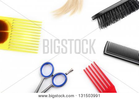 Professional hairdresser equipment isolated on white, copy space