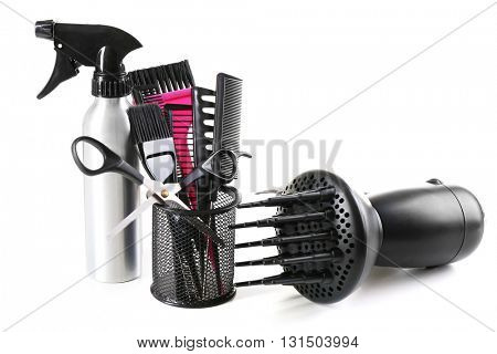 Professional hairdresser equipment isolated on white