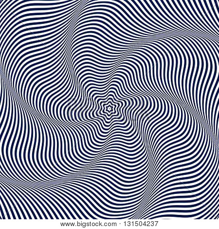 Illusion of wavy rotation movement. Illustration.