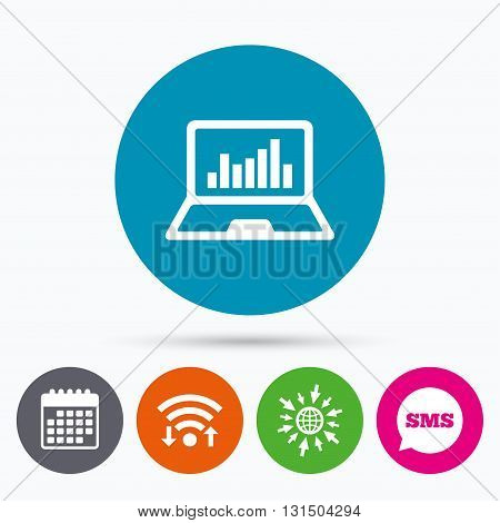 Wifi, Sms and calendar icons. Laptop sign icon. Notebook pc with graph symbol. Monitoring. Go to web globe.