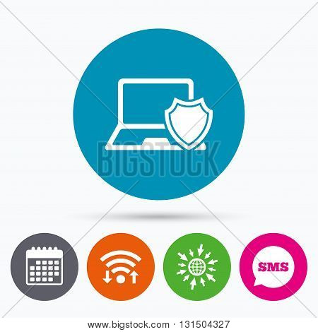 Wifi, Sms and calendar icons. Laptop protection sign icon. Notebook with shield symbol. Go to web globe.