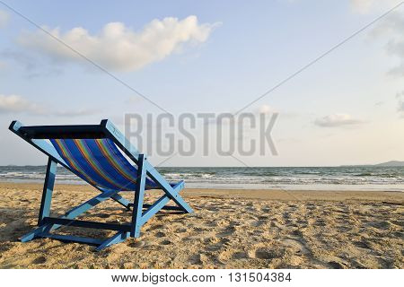 Beach chair on the beach Lam Mae Pim Beach Rayong Distric Thailand.