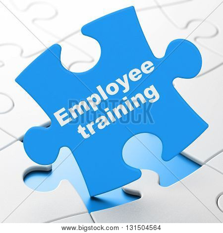Studying concept: Employee Training on Blue puzzle pieces background, 3D rendering