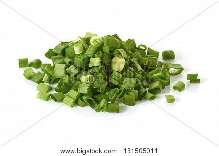Fresh chopped green onion isolated on white background