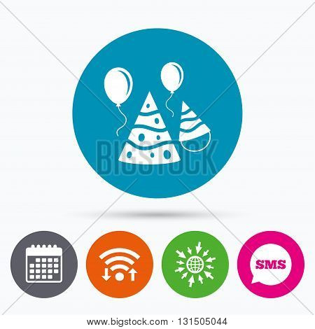 Wifi, Sms and calendar icons. Party hat sign icon. Birthday celebration symbol. Air balloon with rope. Go to web globe.