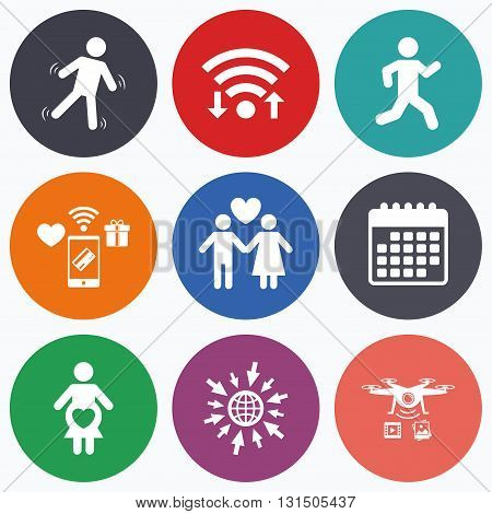 Wifi, mobile payments and drones icons. Women pregnancy icon. Human running symbol. Man love Woman or Lovers sign. Calendar symbol.