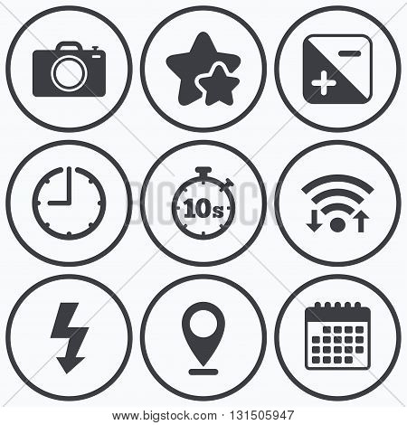 Clock, wifi and stars icons. Photo camera icon. Flash light and exposure symbols. Stopwatch timer 10 seconds sign. Calendar symbol.