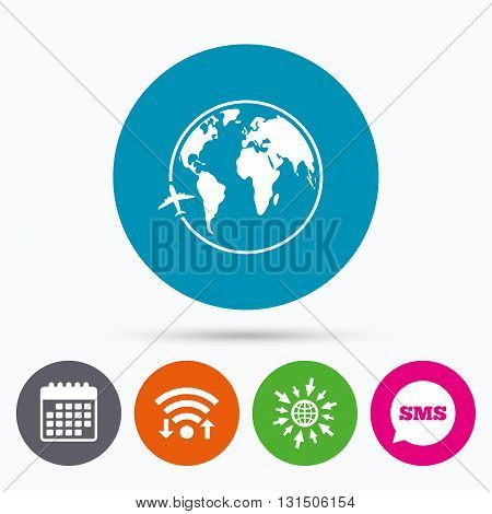 Wifi, Sms and calendar icons. Airplane sign icon. Travel trip round the world symbol. Go to web globe.
