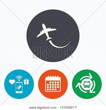 Airplane sign icon. Travel trip symbol. Mobile payments, calendar and wifi icons. Bus shuttle.
