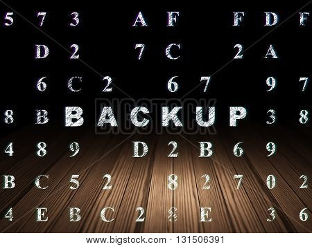 Database concept: Glowing text Backup in grunge dark room with Wooden Floor, black background with Hexadecimal Code