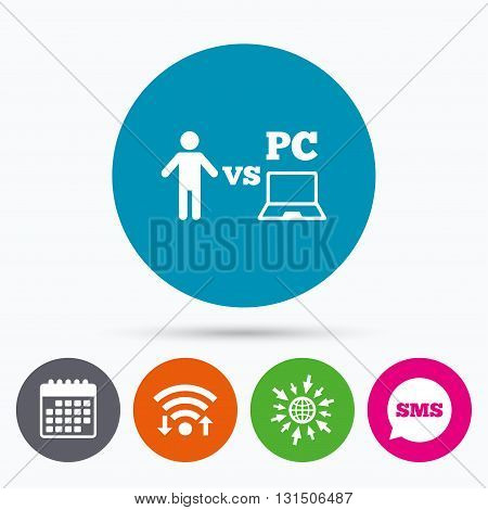 Wifi, Sms and calendar icons. Player vs PC sign icon. Games human symbol. Go to web globe.