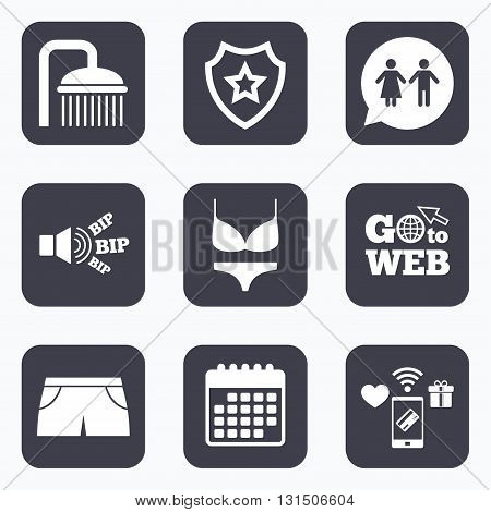 Mobile payments, wifi and calendar icons. Swimming pool icons. Shower water drops and swimwear symbols. WC Toilet speech bubble sign. Trunks and women underwear. Go to web symbol.