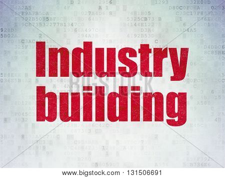 Industry concept: Painted red word Industry Building on Digital Data Paper background