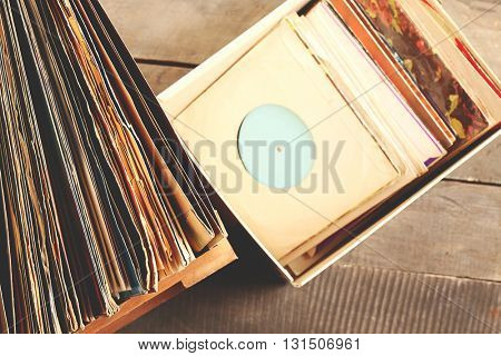 Box with vinyl records