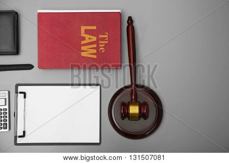 Law accessories, top view. Flat lay concept
