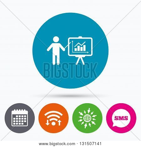 Wifi, Sms and calendar icons. Presentation sign icon. Man standing with pointer. Scheme and Diagram symbol. Go to web globe.