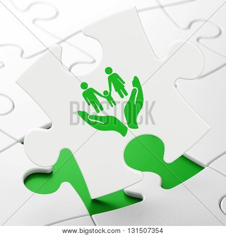Insurance concept: Family And Palm on White puzzle pieces background, 3D rendering