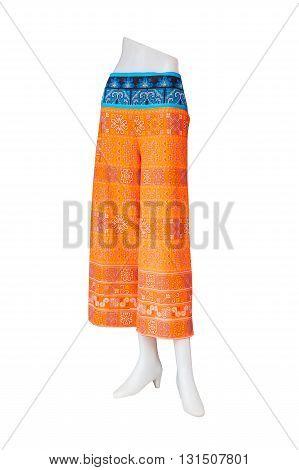 Orange pants isolated on a white background.